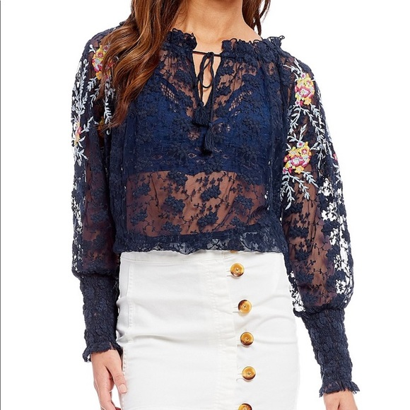 043b2e010 Free People Tops | Floral Lace Peasant Top Size Small | Poshmark